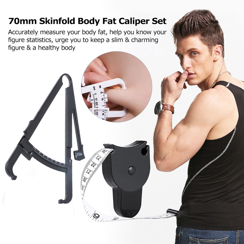 70mm Black Skinfold Body Fat Monitor With Measurement Chart Body Fat Caliper Tester Skinfold Measurement Tape Health Care Tool
