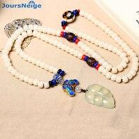 Gros Blanc Naturel Bodhi Bracelets 108 Bouddha Perles Os De Boeuf Potins Pierre Feuille Pendentif Collier Chandail Chaîne Bijoux