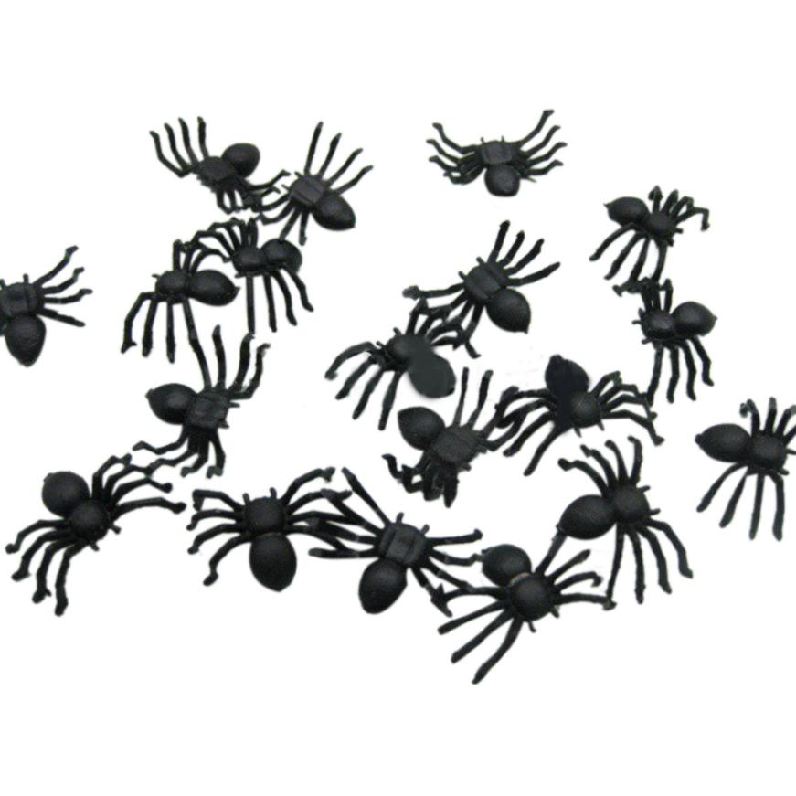 20PC Halloween Decoration Plastic Black Spider Joking Toys Decoration Realistic 2AU24