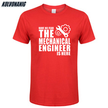 Have No Fear The Mechanical Engineer Is Here Novelty Funny Printed T Shirt Mens Clothing Cotton O-Neck Short Sleeve T-Shirt Top