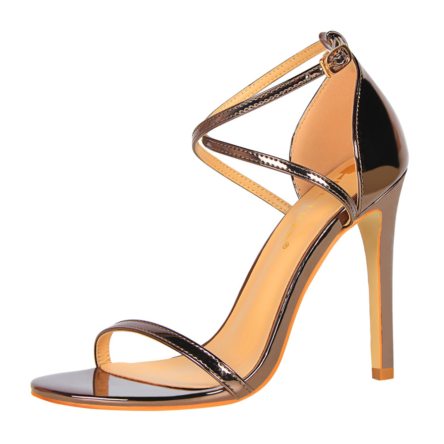 Show Thin Cross Strap Women Sandals 2019 New Patent Leather Concise Summer High Heels 11cm Shoes Open Toe Women 39 s Office Sandals in Women 39 s Pumps from Shoes
