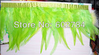 Free Shipping 10meters Height 4 6 (8 15cm) Green Rooster Hackle Feather tail rooster feather Trimming Fringe