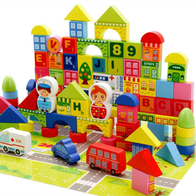 Wooden Blocks City Traffic Road Vehicle Car Bricks Building Set Wood Geometric Assembling Blocks Children Educational Toys Gift
