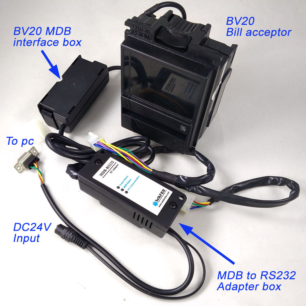 Economical MDB-R232 With BV20 bill acceptor for MDB development kits / BV20 Bill Validator plus MDB to PC adapter