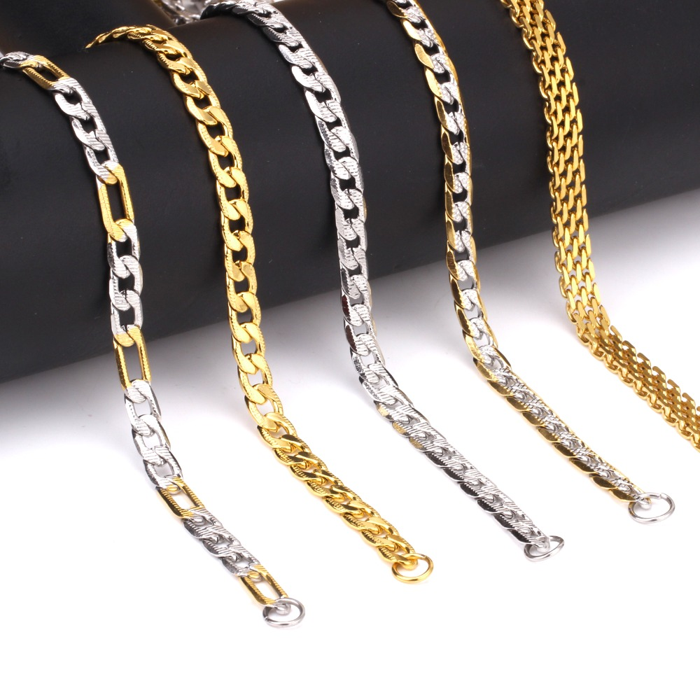 6mm 55cm Different Style Fashion Necklace Chain Men Women Jewelry Gold/Silver Stainless Steel Chains For Pendant Wholesale