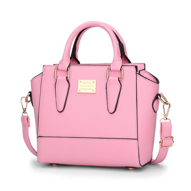 Sunny Shop Trapeze Women Bags Pink Shoulder Messenger Bag Fashion Design Pu Handbag Zipper Clutch England Style Tote Sac Mb24