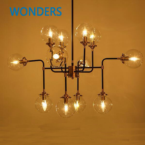 Modern Shade Glass artistic pendant golden and black E14 Bulb Modern Lighting  sphere Beanstalk molecular mall shop decoration лосьон лосьон caudalie 100ml