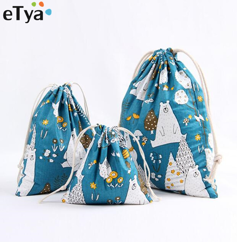 3PCS/Set Multifunction Women Drawstring Shopping Bag Female Travel Cosmetic Tote Bags Cloth Shoes Pouch Organizer Set