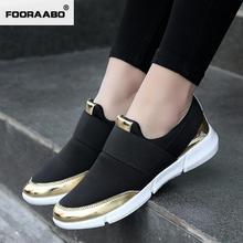 Fooraabo Лето 2017 г. женская повседневная обувь женские туфли на платформе Слипоны женские красовки Женская обувь Feminino цвет серебристый, золотой