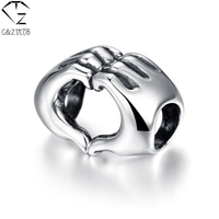 100 Real Pure 925 Sterling Silver Bead For Pandora Bracelet Double Hand Heart Beads Accessories S925
