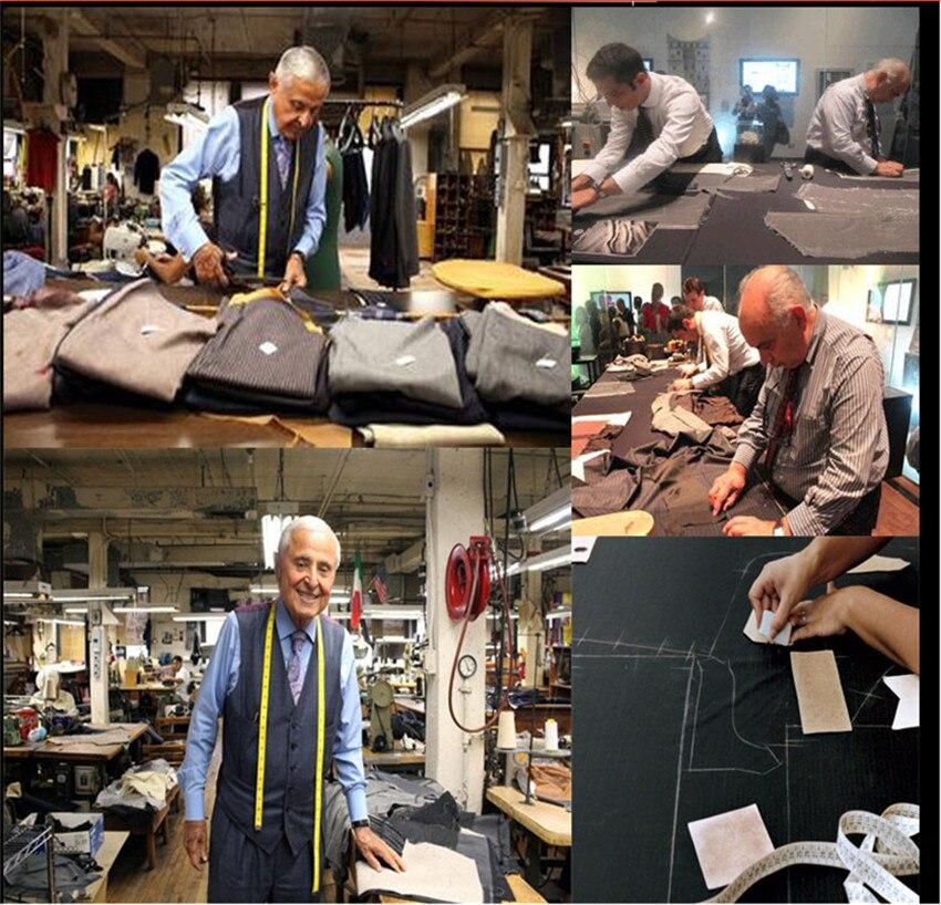 2020 personalizado fino ajuste smoking jaqueta masculino azul marinho notch lapela noivo smoking ternos homem de negócios terno jaqueta + calça + colete gravata - 6