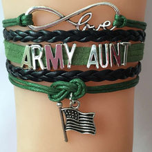 NCRHGL Infinity love ARMY SISTER/AUNT/WIFE/MOM bracelets bangles flag charm braid bracelet family Jewlry men women Drop Shipping(China)