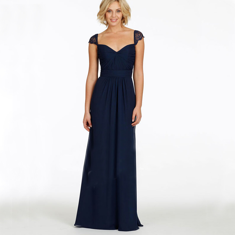 Bw039 lace navy blue prom dresses chiffon with pleat women for Navy evening dresses for weddings