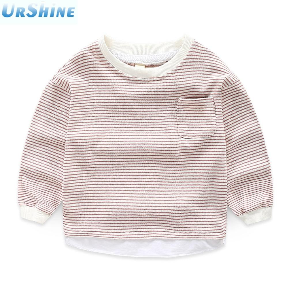 Children Sweatshirt Boys Clothes 2018 Stripped Long Sleeve Round Callar Tops Kids Girl Outwear Cotton Sweatshirts