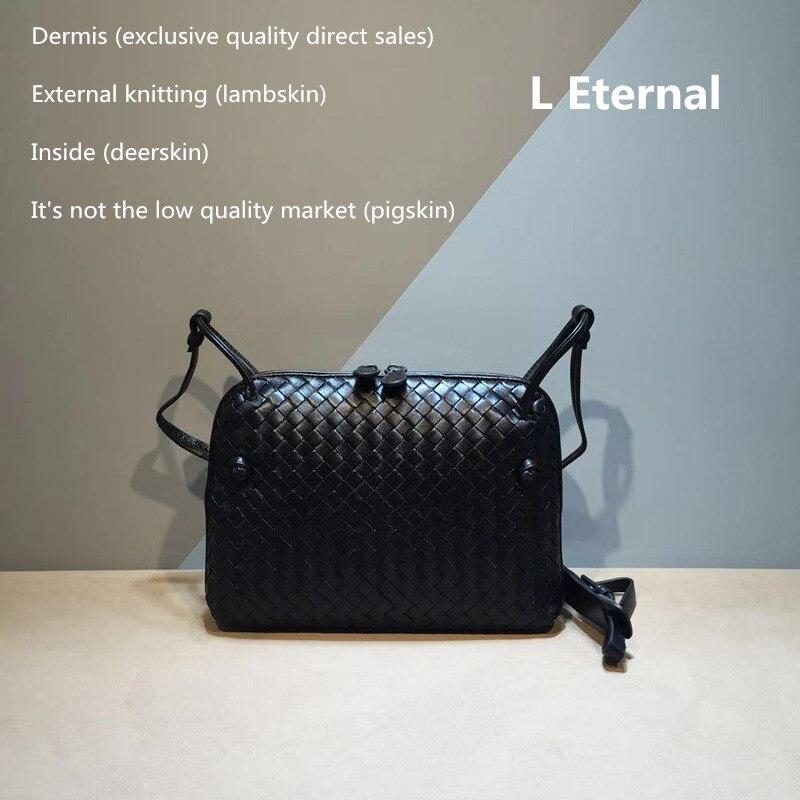 Femme tissé sac 2019 sac carré peau de mouton petit sac carré interne et externe derme le sac à bandoulière unique en cuir véritable
