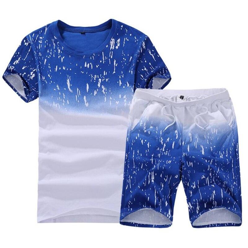 Plus Size 6XL 7XL 8XL 9XL 2 Pieces Summer T-Shirt Sets Cotton Tshirt + Short Casual Short Sleeve O-Neck Tracksuits T Shirt Men