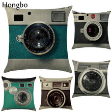Hongbo Vintage Style Classic Decorative Throw Pillowcase Camera Black White Cushion Cover Sofa Home Almofadas Wholesale