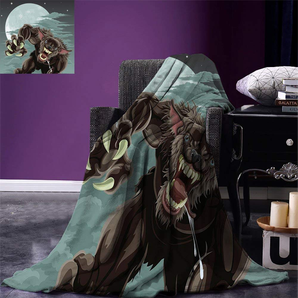 Wolf Throw Blanket Night Skyline with Full Moon and Stars Werewolf Attacking Position Ravenous Being Warm Adults Blanket