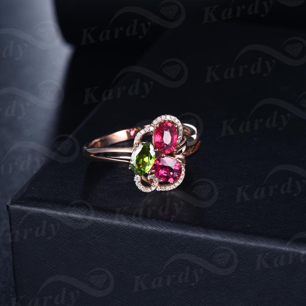 Incroyable Design pierre précieuse Tourmaline naturelle véritable diamant 14 K or Rose bague de fiançailles de mariage ensemble - 4
