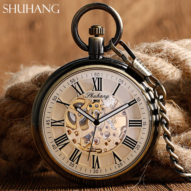 SHUHANG Classic Mechani Pocket Watches Men's Women's Gift Self Winding Copper Br