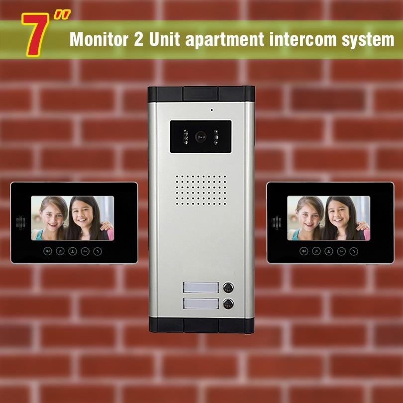 2 units apartment intercom system video door phone intercom doorbell for apartment video intercom home intercom system