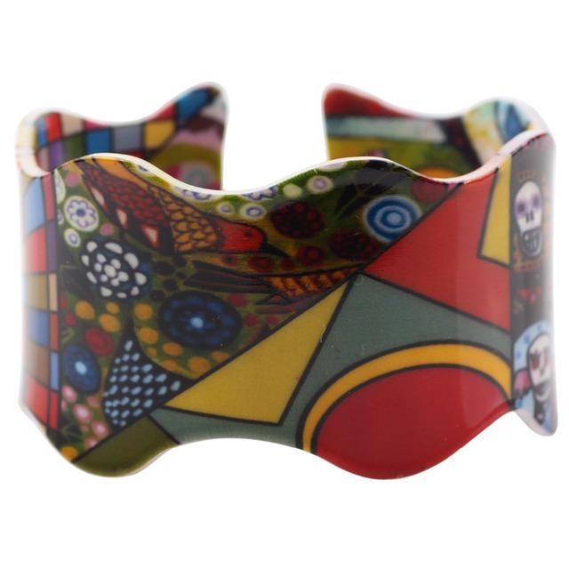 Bonsny Acrylic Colorful Pattern Bangle
