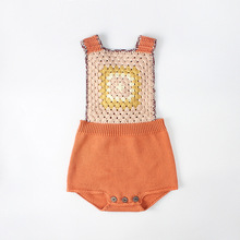 Everweekend Sweet Baby Girls Boys Crochet Vintage Halter Rompers Candy Color Classic Fashion Backless Sweater Clothes