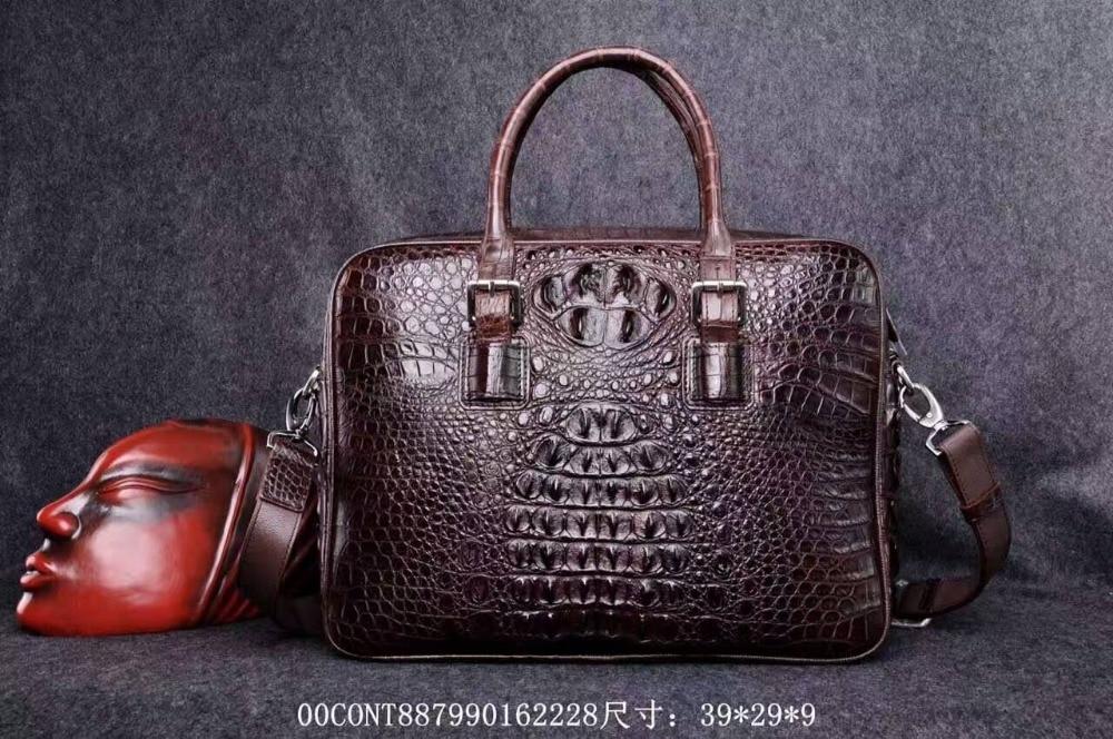 все цены на  men business bag black brown Big Discount Sales Promotion,100% genuine crocodile leather skin briefcase men laptop bag  онлайн