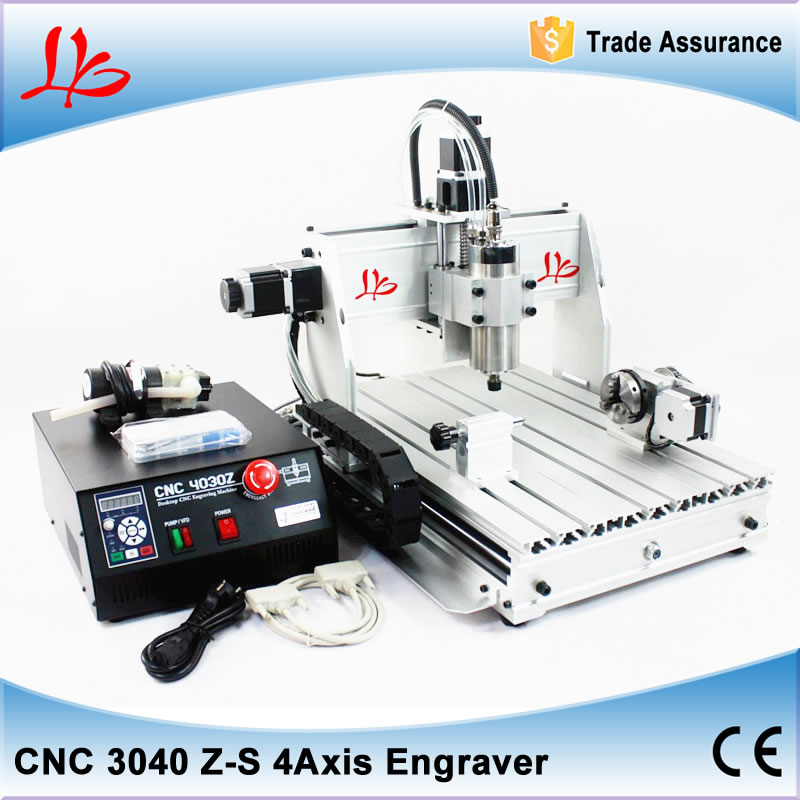 Cheapest!! cnc machine stone cutting machine CNC 3040 Z-S 4 Axis metal marble used machinery,800w water cooled spindle
