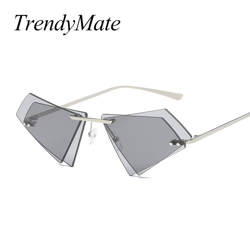 New Cat Eye Women Sunglasses Brand Gradient Rimless Sunglasses Women Vintage Glasses Woman Sunglasses Oculos De Sol 1184T