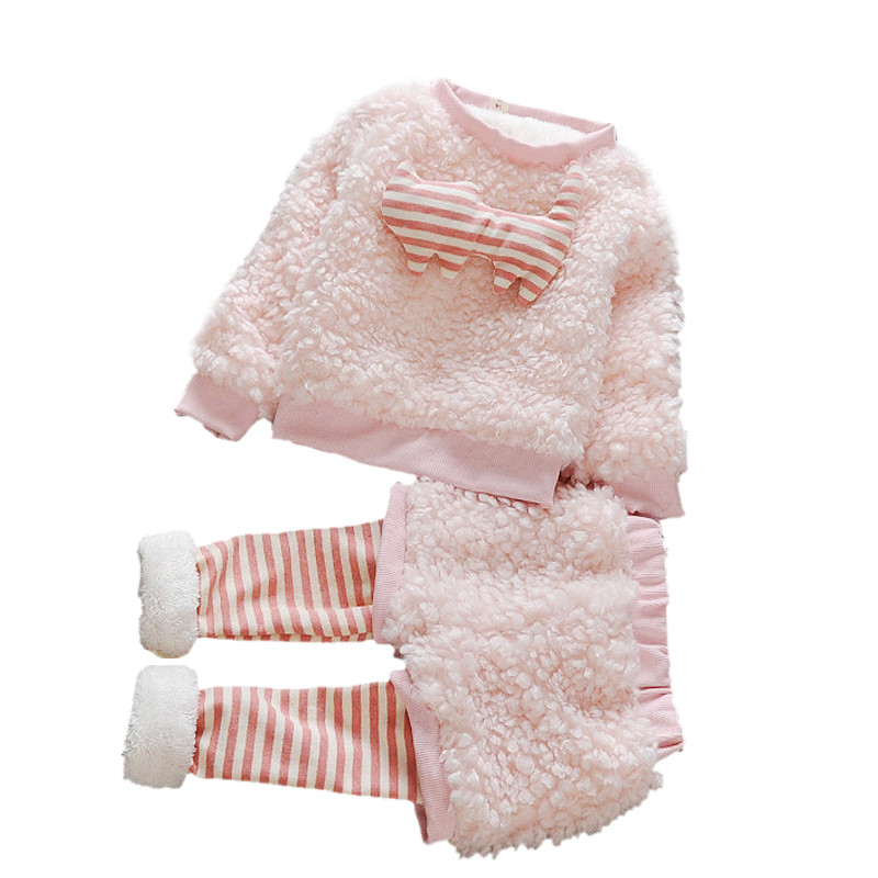 где купить Lambs Wool Set Baby Girls Clothing Set Autumn Winter Children's Clothes 2Pcs Cute Thick Plush Tops + Pants Suit Costume For Kids по лучшей цене