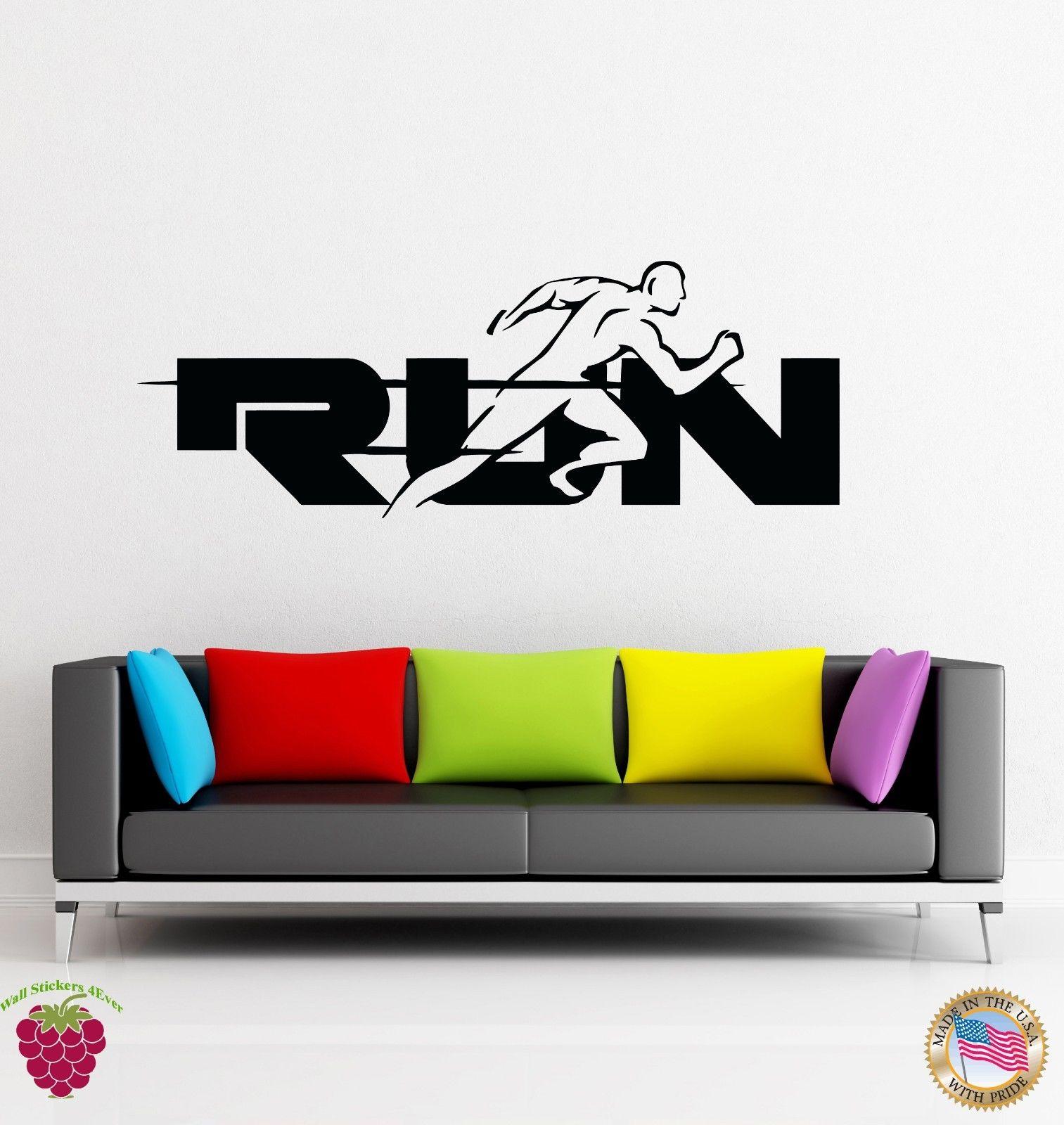 2016 new sports Wall Stickers Vinyl Run Word Jogging Running Sport Health free shipping