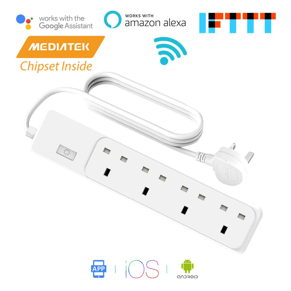 Smart WiFi Surge Protector 4 AC Outlets Amazon Alexa & Google Assistant & IFTTT Supported, App Remote Control Meross MSS420FUK