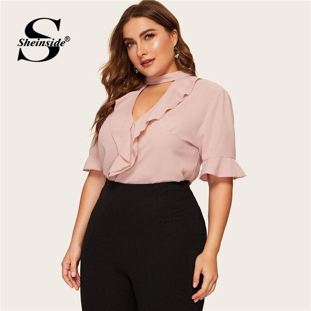 Sheinside Plus Size Pink Flounce Sleeve Ruffle Blouse Elegant Top Female Summer Tops for Women 2019 Keyhole Neckline Blouses 3