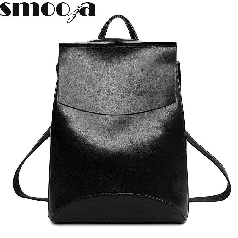 SMOOZA Fashion Women Backpack High Quality Youth Leather Backpacks for Teenage Girls Female School Shoulder Bag Bagpack mochila