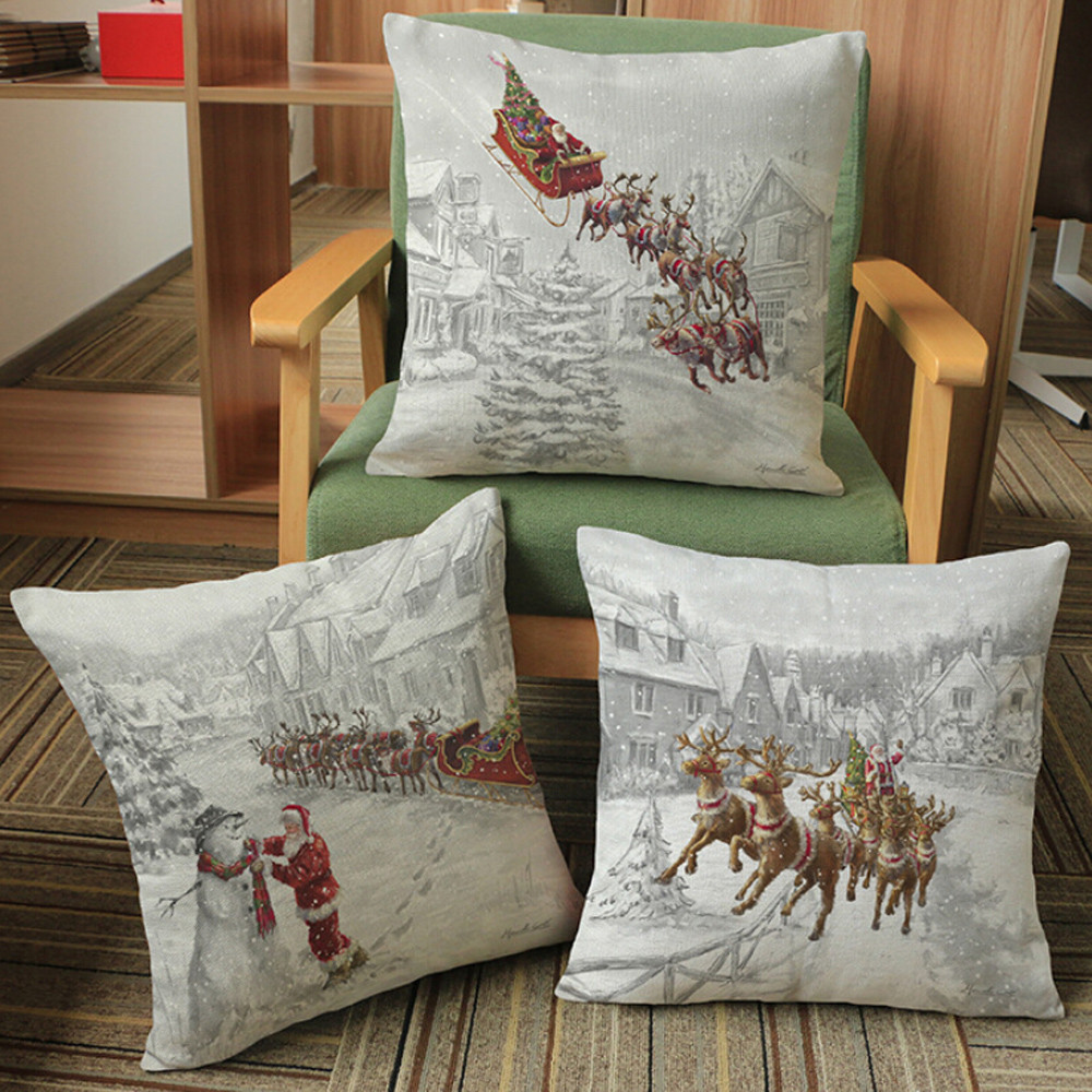 Table & Sofa Linens Cushion Cover 45*45cm Home Square Christmas Decorative Cushion Cover Elk Snow Landscape Christmas Throw Pillow Case For Room Sofa
