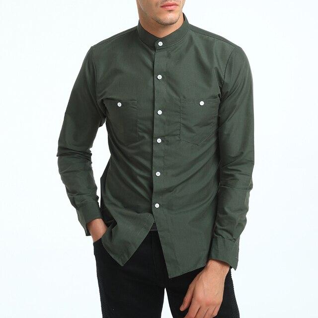 82aa5761cbf9 Brand 2018 Fashion Male Shirt Long-Sleeves Tops British Stand Collar Young  Solid Color Shirt Mens Dress Shirts Slim Men Shirt