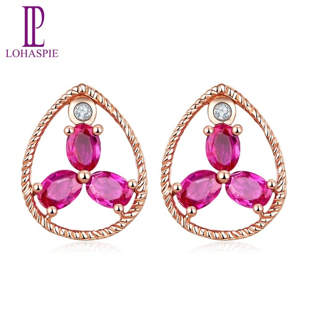 LP 8x10mm Stud Earrings Natural Ruby Diamond Solid 10K Rose Gold Gemstone Fine Jewelry For Women's Gift  NEW