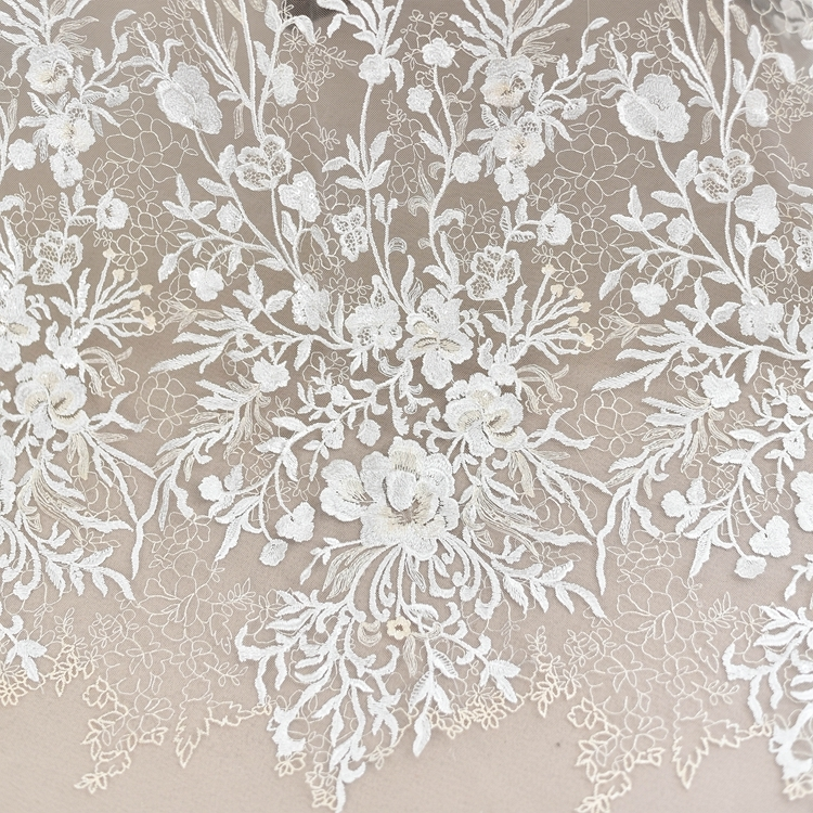 Modern Korean 3D Flower Embroidery Lace Fabric Wedding Dress Handmade Diy Material Fashion Perspective Model Clothing Decorative