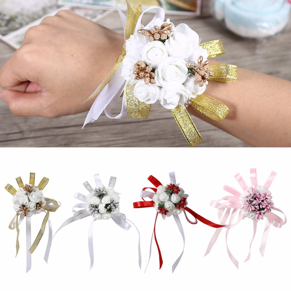 Smart Fake Flower Wrist Corsage Bracelet Wrist Flowers For Bridesmaids Red Wedding Decoration Marriage Rose Wrist Corsage Hand Flowers Clothing, Shoes & Accessories Health & Beauty