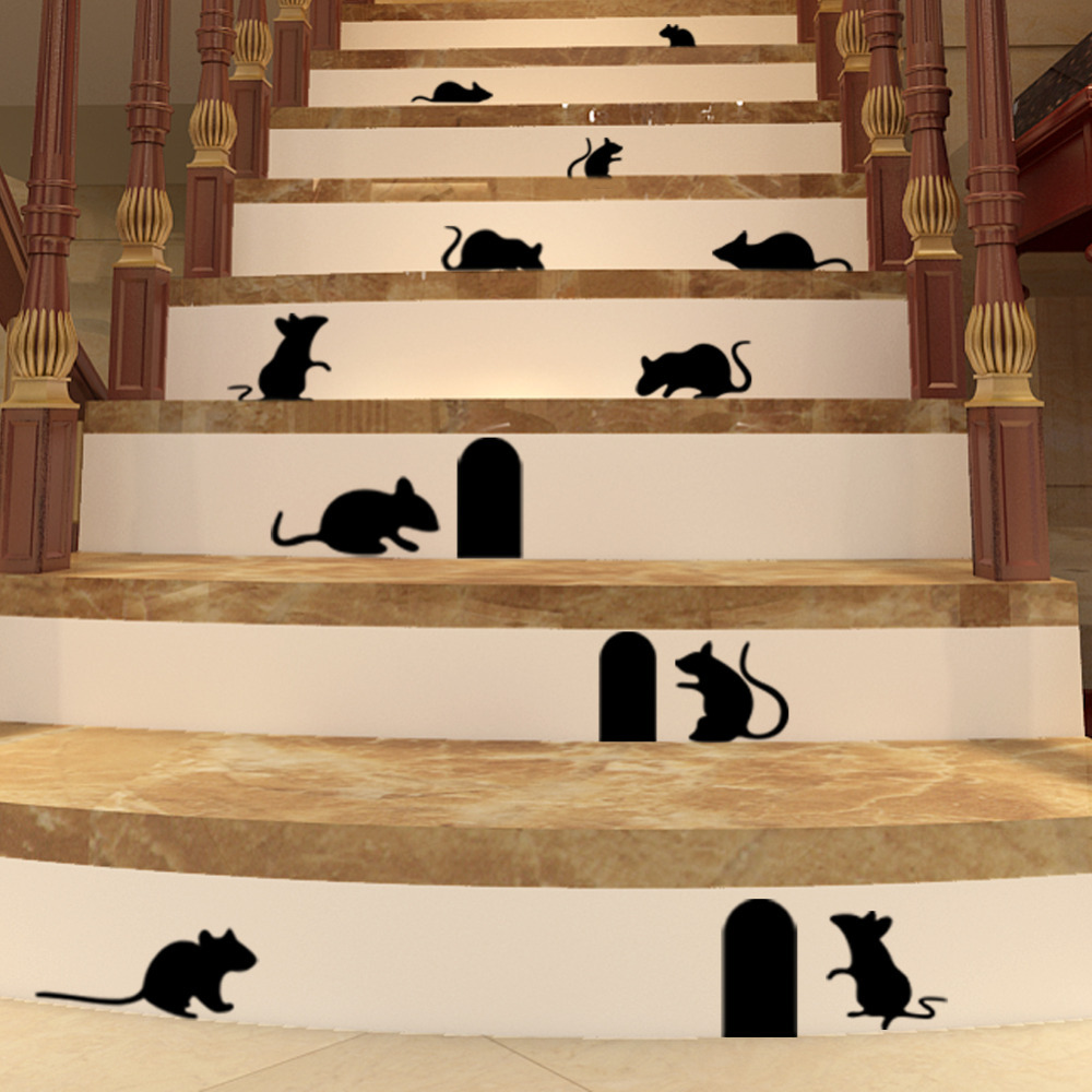 Funny Mouse Hole Wall Stickers Creative Rat Hole Cartoon Wall Stickers Bedroom Living Room Mice