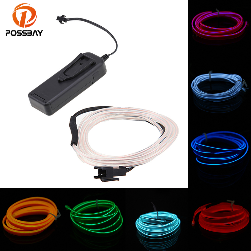 POSSBAY 10 Color 4M Car Decorative Led Indoor/Outdoor Holiday Accessory Flexible Neon Light EL Wire Rope Tube Strip Lights