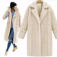women's winter thick warm jackets Green Black Gray faux Lamb velvet wool V neck long coats Cloaks for women basic trench coats