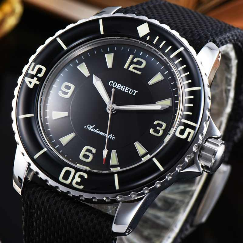 Corgeut 45mm Mens Automatic Watch Miyota 8215 Movement Black Dial Luminous WristWatch Black Nylon Strap Men Watches CA2019SB