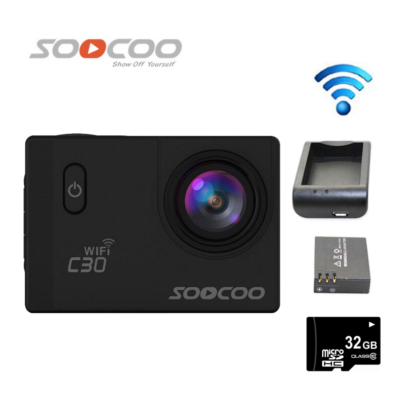 Free Shipping!!32GB SOOCOO C30 WiFi Full HD 1080P 2.0 inch LCD NTK96660 Waterproof Sports DV+Extra 1pcs battery+Battery Charger стоимость