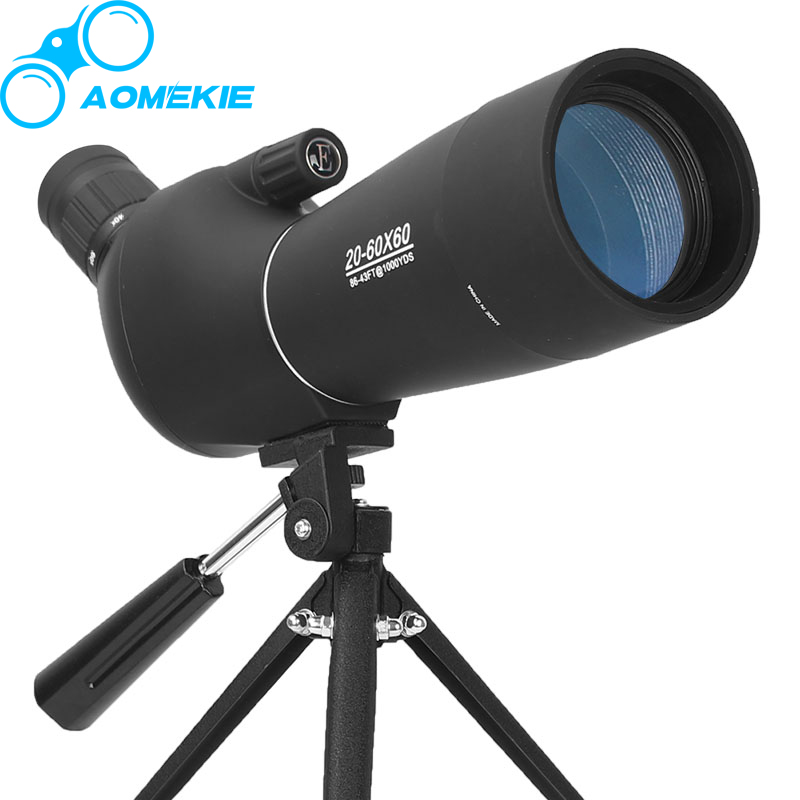 купить AOMEKIE 20-60X60 Zoom Spotting Scope with Tripod HD Optical Prism FMC Lens Birdwatching Hunting Shotting Monocular Telescope по цене 4855.02 рублей