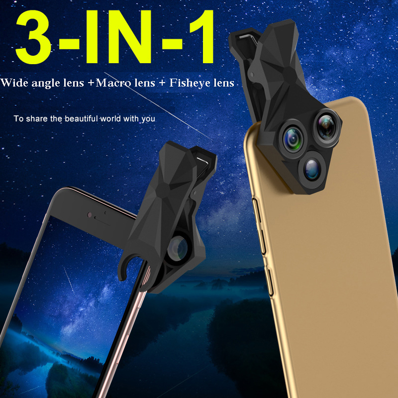Image 5 - 3 in 1 Phone Lens Professional Integral Turntable External Use Wide Angle + Fisheye + Macro Universal Cool Phone Camera Lens Set-in Monocular/Binoculars from Sports & Entertainment