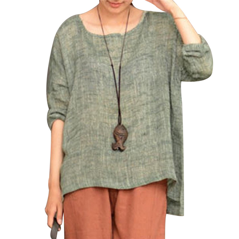 e9057ba7296 Women Vintage Cotton Linen Tunic Tops 2018 Summer Long Sleeve Oversized  Blouses Plus Size Female Causal Shirts Femme 4XL 5XL