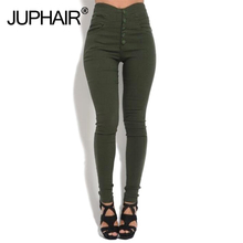 Girl Button Sexy Bottoming Pant Elastic Feet Solid Color Basic Bottom Tight-fitting Pants High Waist Skinny Cotton Tight