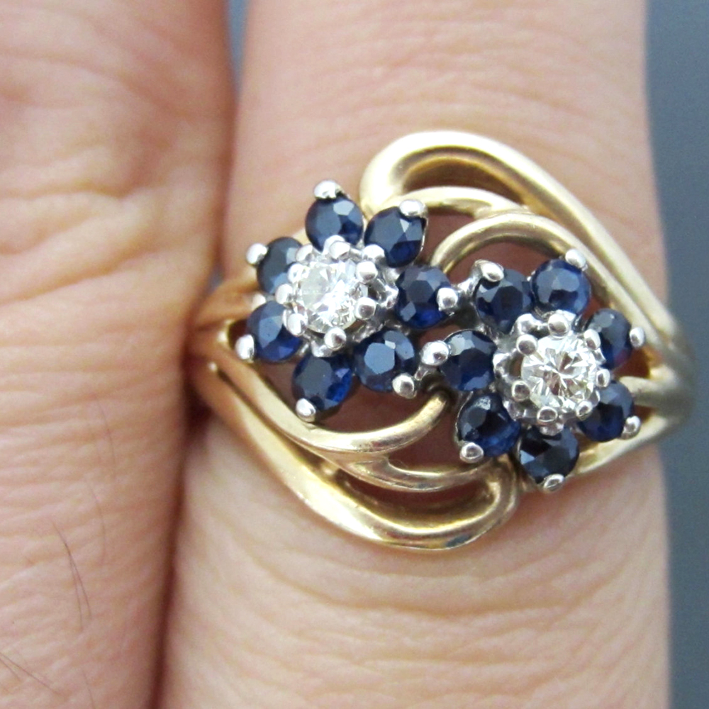 Vintage Round Brilliant Cut Moissanite & Deep Blue Sapphire Stone 0.55cttw Ladies Wedding Ring 14k Yellow Gold Fine Jewerly переплетчик fellowes quasar 500 a4 перфорирует 22 листов сшивает 500 листов пластиковые пружины 6 51мм fs 5627701